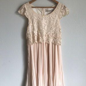 La Chapelle dainty boho lace pleated dress